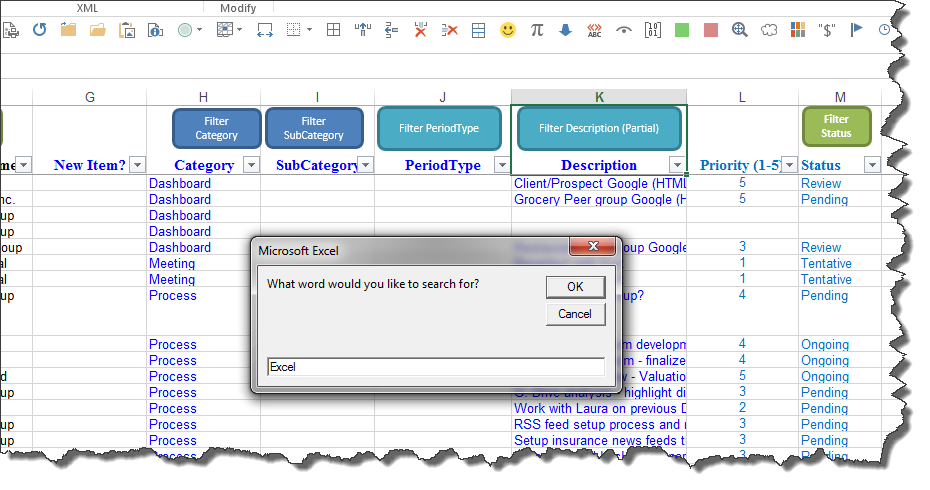 """Microsoft Excel: Macro Code to Perform a """"Contains"""" Text Filter"""