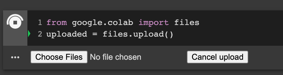 code snippet to import files locally from your machine into colab