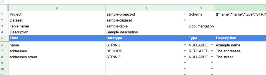 Create BigQuery tables with Google Sheets and Apps Script
