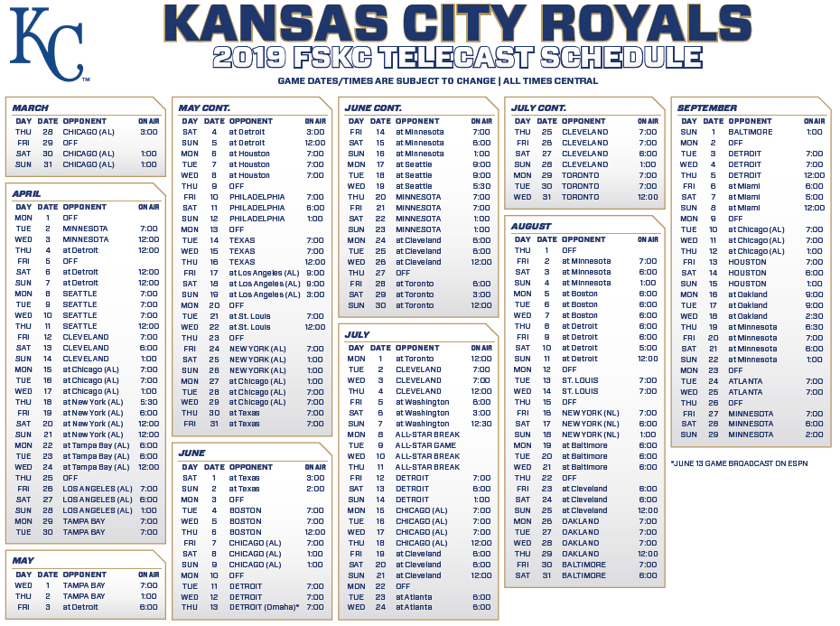 image relating to Diamondbacks Schedule Printable called Royals, FSKC Announce 2019 Television set Routine - Royal Rundown