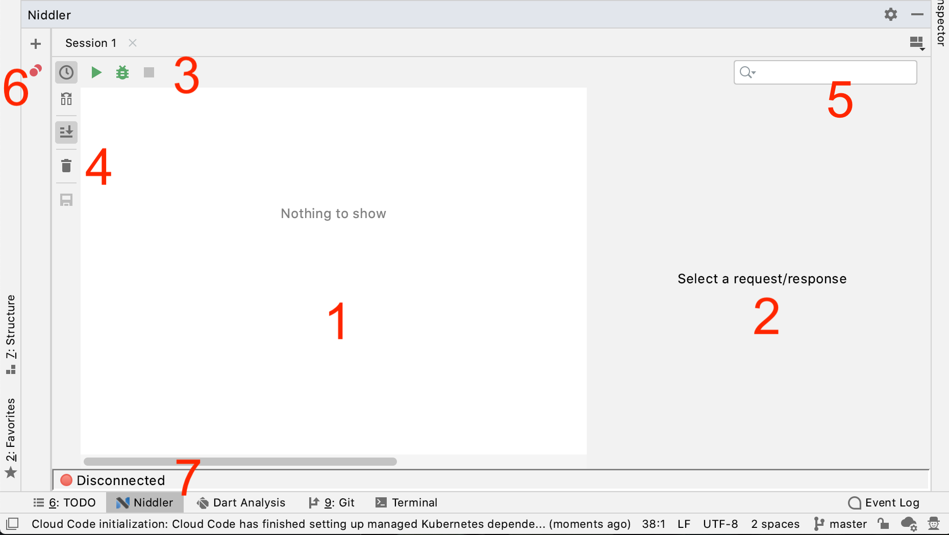 Screenshot of the niddler interface, annotated to include most important interaction areas