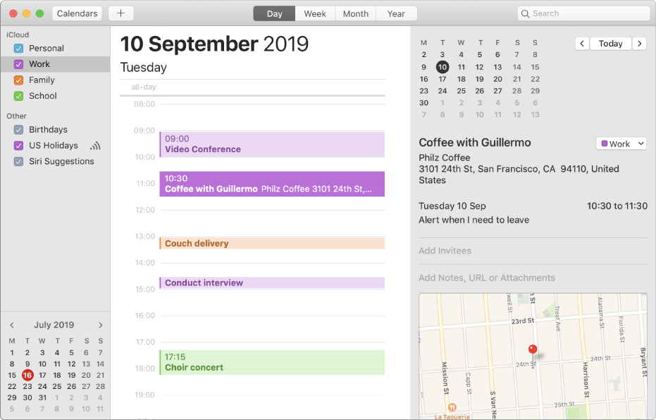 Apple Calendar - Desktop View