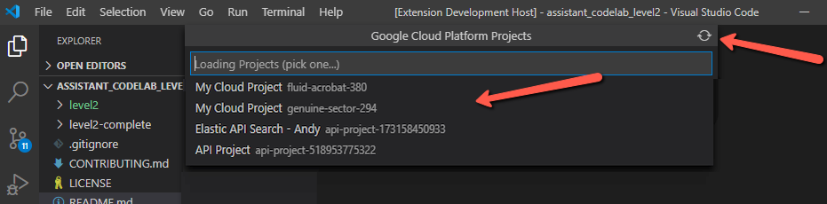Google Cloud Platform Project Switcher pane