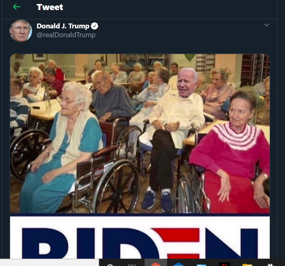 Screenshot of Donald Trump's Tweet with a pic of elderly people in a residence, mostly in wheelchairs including Biden
