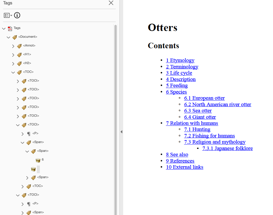Acrobat screenshot showing PDF table of contents based on the wikipedia table of contents