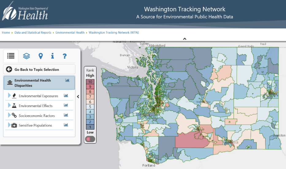 Map of Washington state showing areas with health disparities.