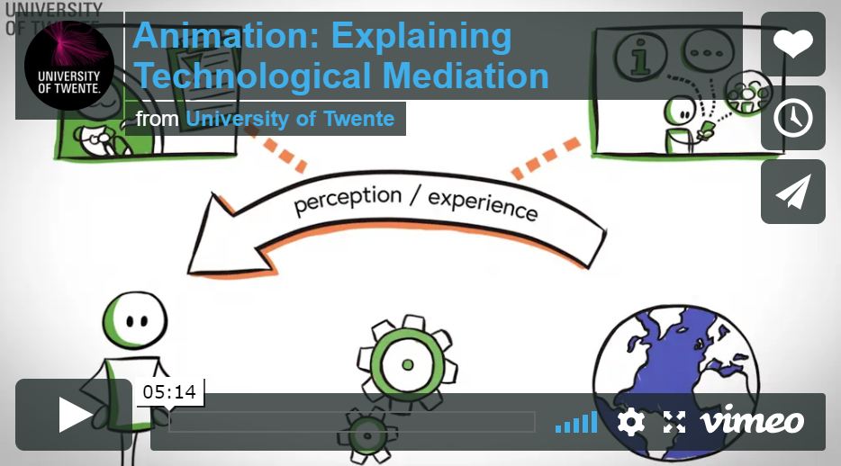Screenshot of a short animation movie in which technological mediation is explained. Follow link below to see the movie.