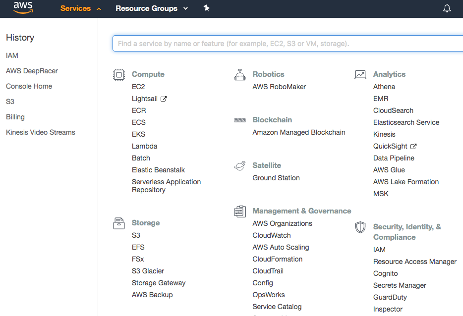 The AWS Services menu expanded to show all services