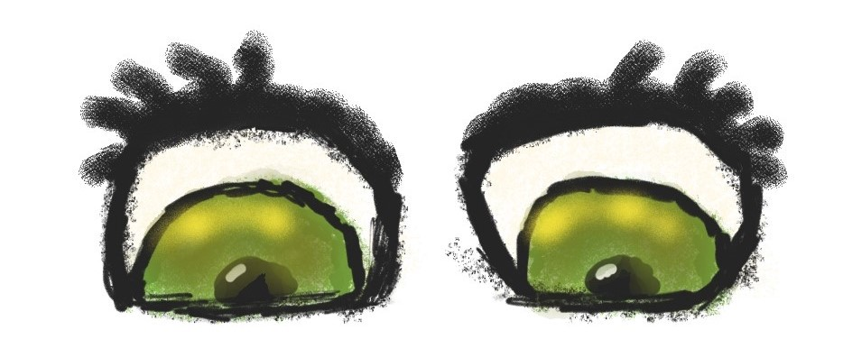 Cartoon drawing of eyes, by Jessica Barnaby, Wednesday Genius