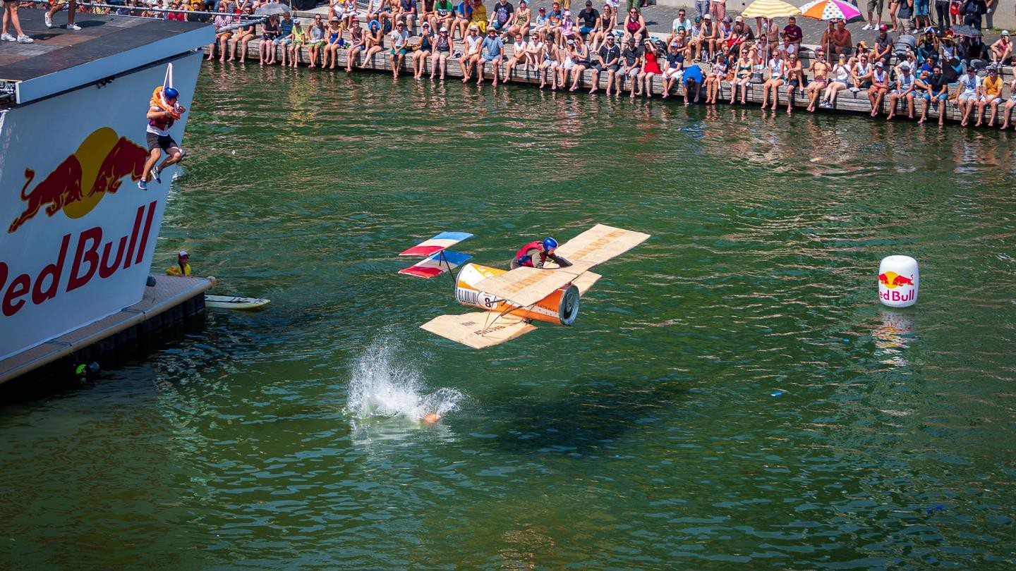Red Bull event featuring a homemade airplane