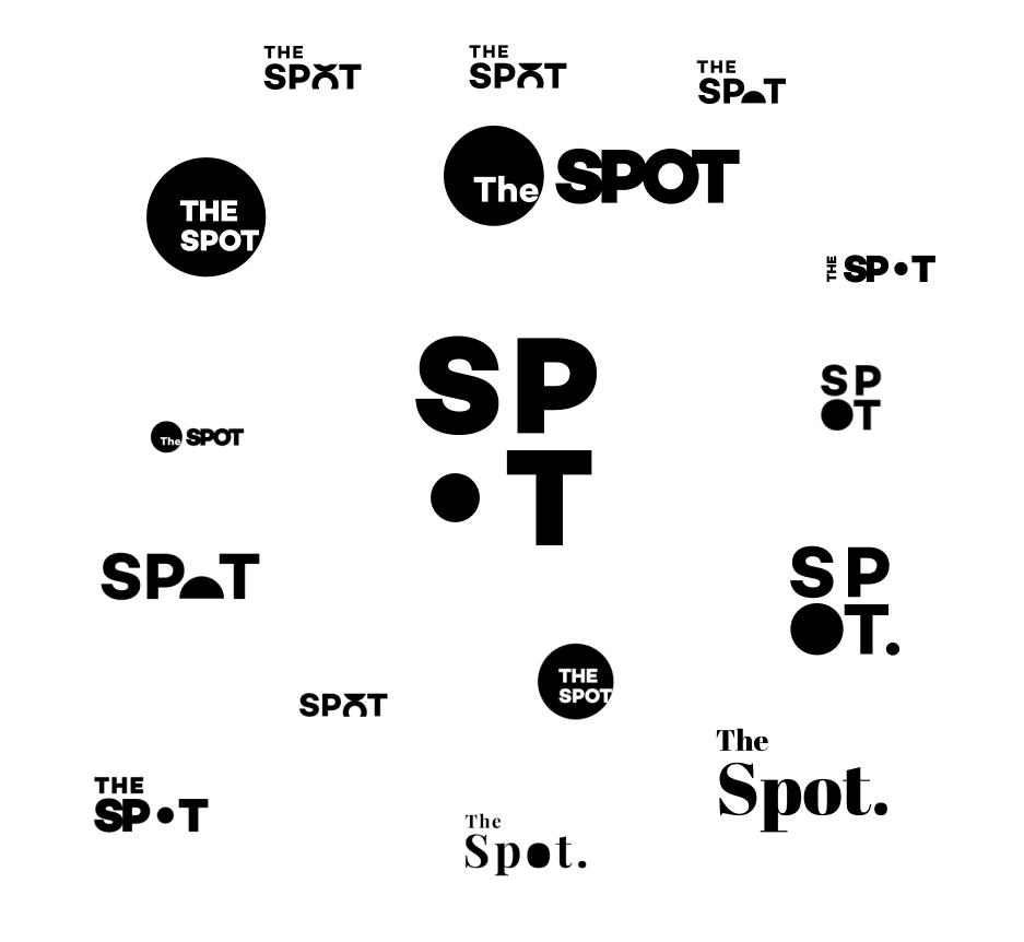 Several different logo explorations for The Spot