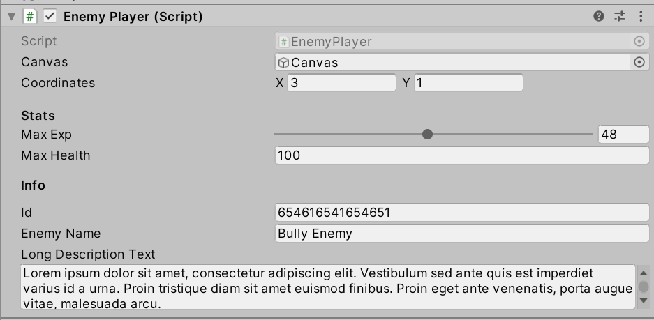 Example TextArea attribute expanding the input field for text in Unity Inspector