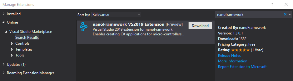 Install the nanoFramework VS2019 Extension