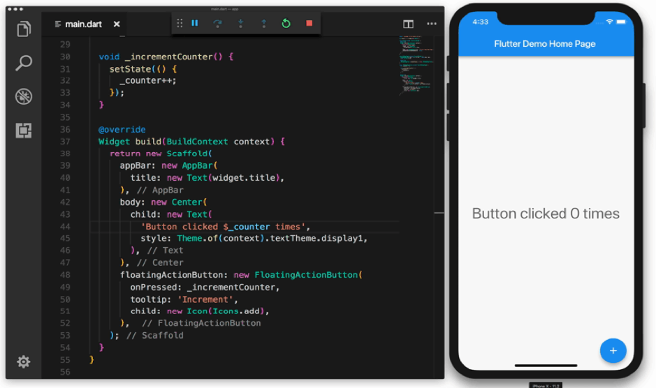 A Screenshot of Visual Studio Code and a preview app