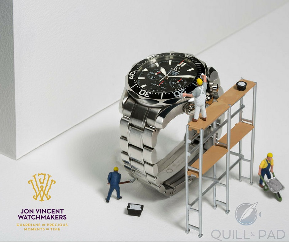 Mini watchmakers cleaning an Omega chronograph using what looks like very unsafe scaffolding, and is that concrete in the wheel barrow? (photo courtesy Susan Castillo/Jon Vincent Watchmakers)