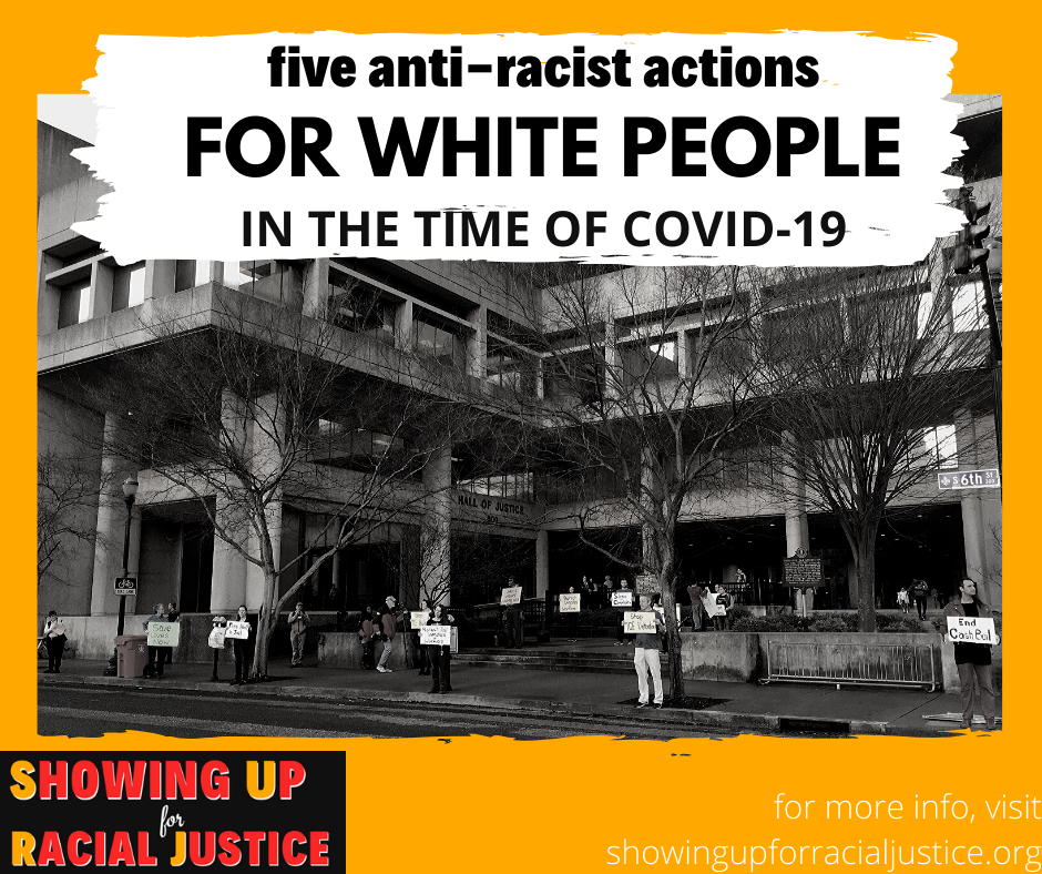 """B&W image of people holding protest signs. Words across image: """"Five anti-racist actions for white people during covid-19"""""""