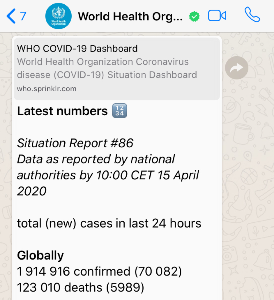 Screenshot of WhatsApp Chat with World Health Organisation on Covid-19 update