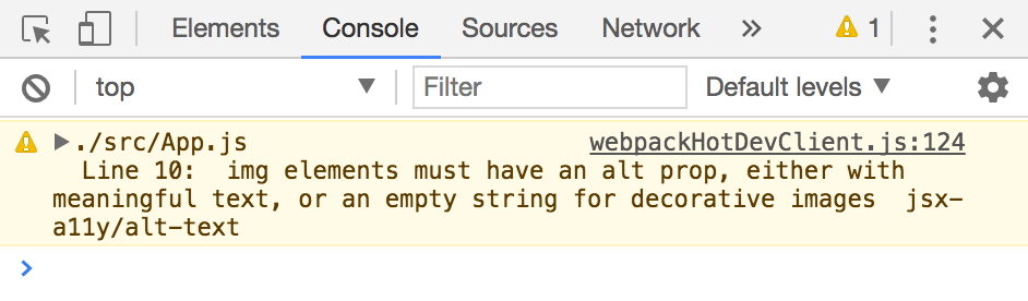 "Screen capture of Chrome's developer tools console. A warning message states, ""img elements must have an alt prop, either with meaningful text, or an empty string for decorative images. (jsx-a11y/alt-text)"""