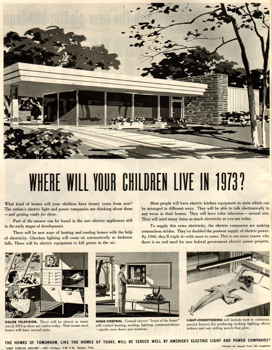 """Where will your children live in 1973?"" asks this magazine advertisement promoting private electric utilities."