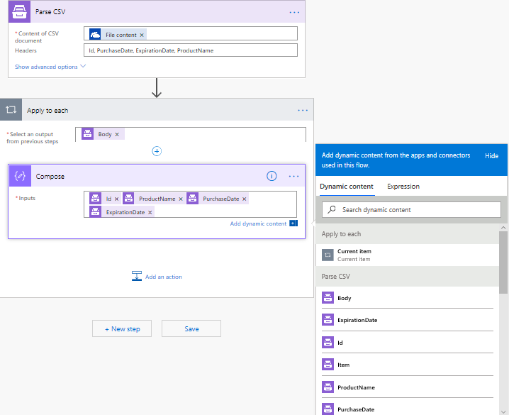How to parse a CSV file using Microsoft Flow, Azure Logic