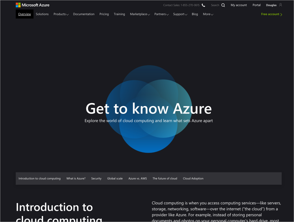 The front page of the Azure.com website.