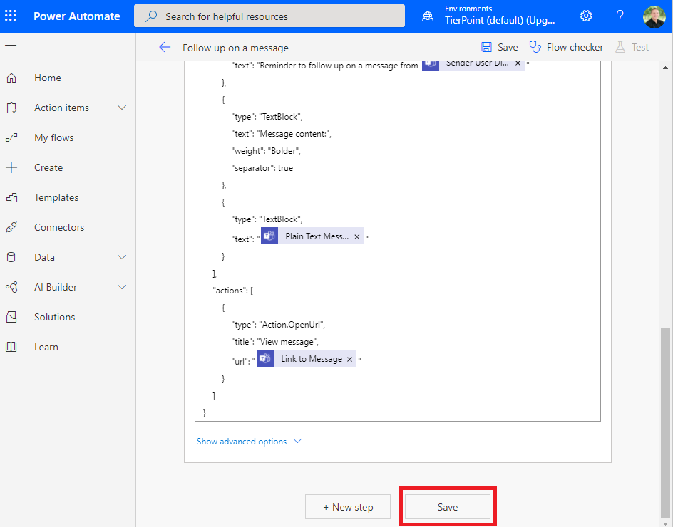 Microsoft Teams follow up on a message flow