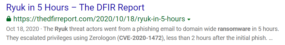 "A search result ""Ryuk in 5 Hours — The DFIR Report"""