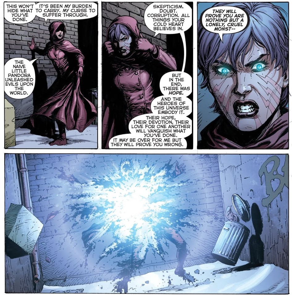 Pandora dies calling off panel Doctor Manhattan a monster.