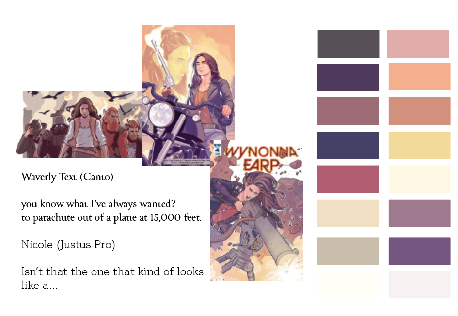 a few scenes from the Wynonna Earp comic book with colors selected from it and text samples of chosen typefaces.