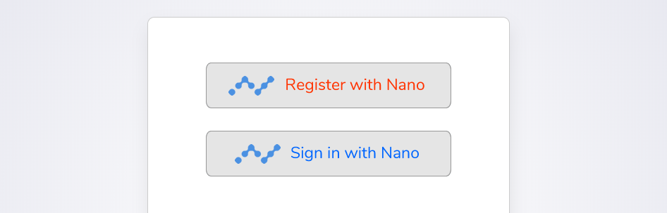 'Register with Nano' and 'Sign In with Nano' buttons
