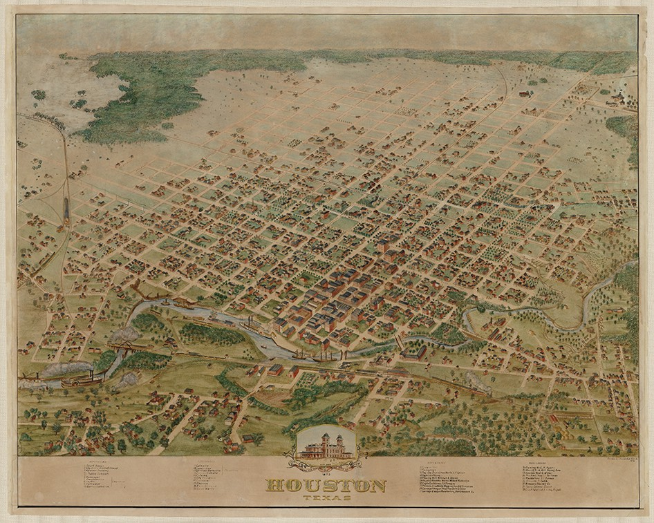 Birds Eye View of the City of Houston, 1873 - Save Texas ... on texas map, houston independent school district map, citycentre houston map, los angeles houston map, water wall houston map, northeast houston map, downtown houston map, houston city district map, city md map, houston city road map, city nc map, city ny map, md anderson houston map, houston city council map, harris county zip code map, 1920s houston map, houston city limits map, movie theaters houston map, detroit houston map, city arkansas map,