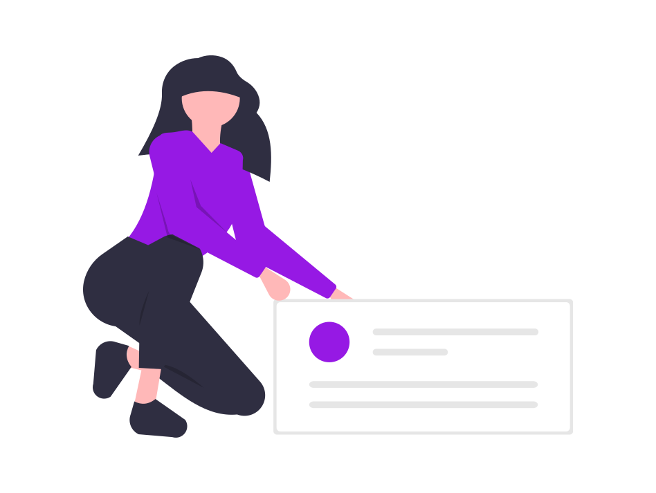 Illustration of a person holding a text box.