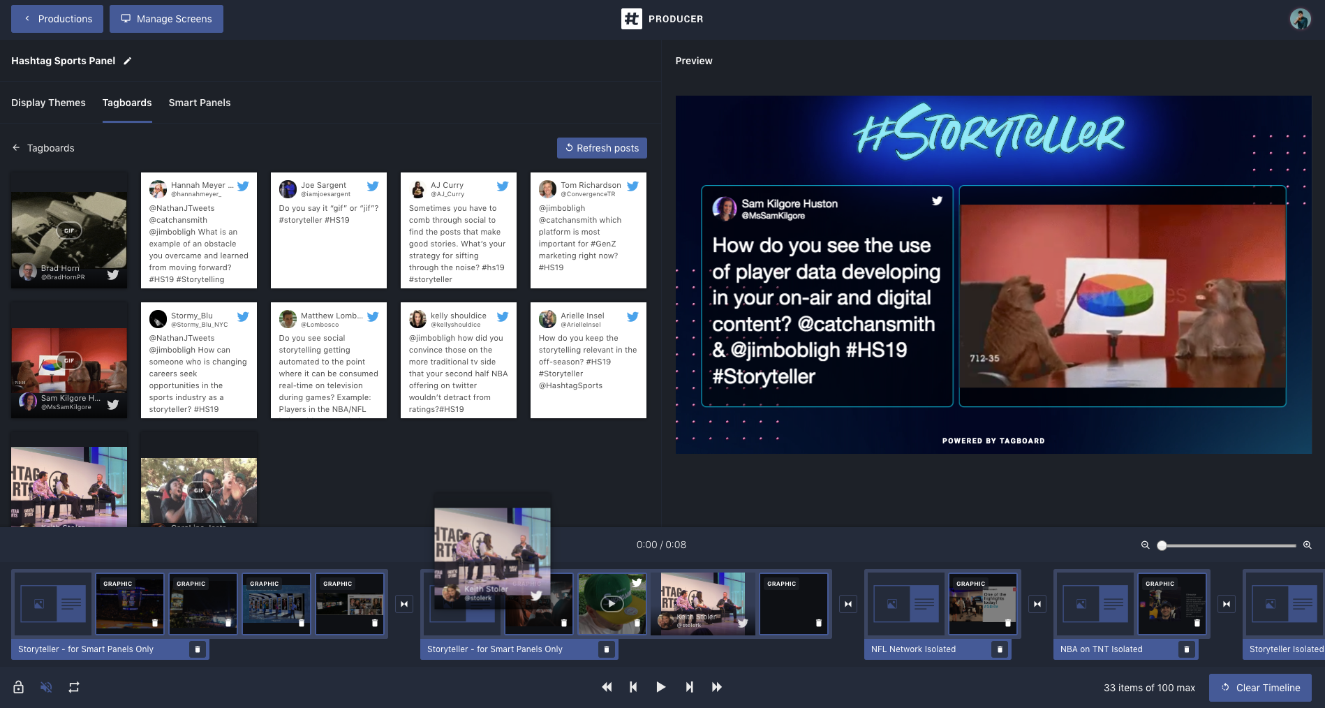 Tagboard Producer: Interactive Storytelling in Real-Time