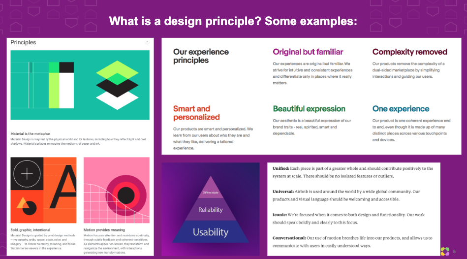 Examples of design principles from other companies, found on Google