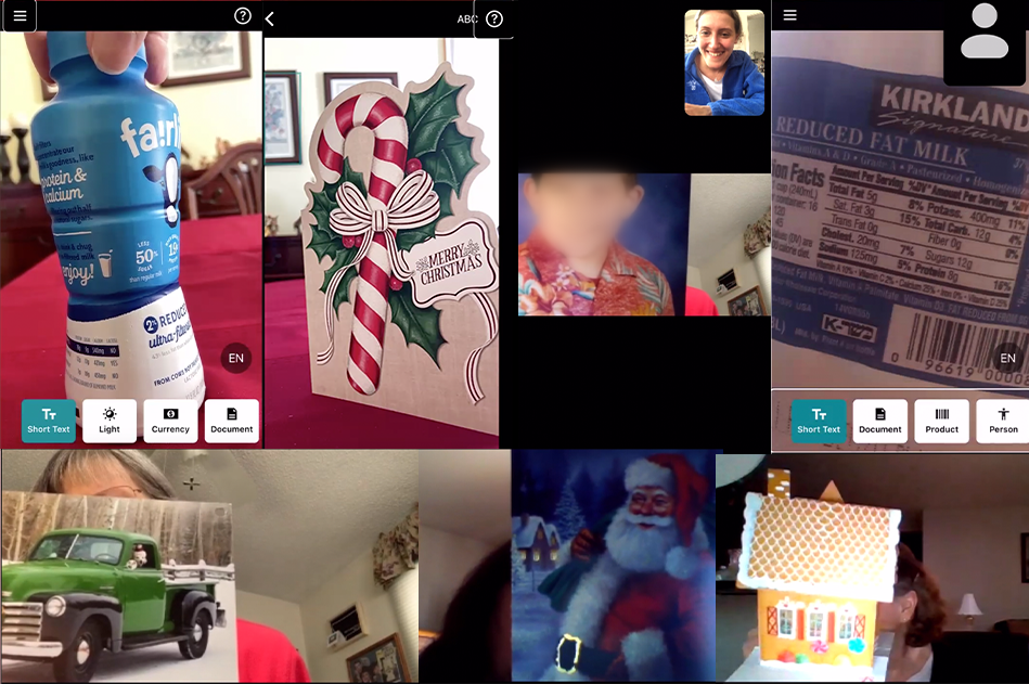 A collage of participants' phone screenshots taken during the interviews. Image contains shots of objects used in this study