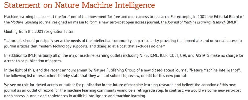 ML Community Pledges to Boycott Nature's New Paywalled Journal