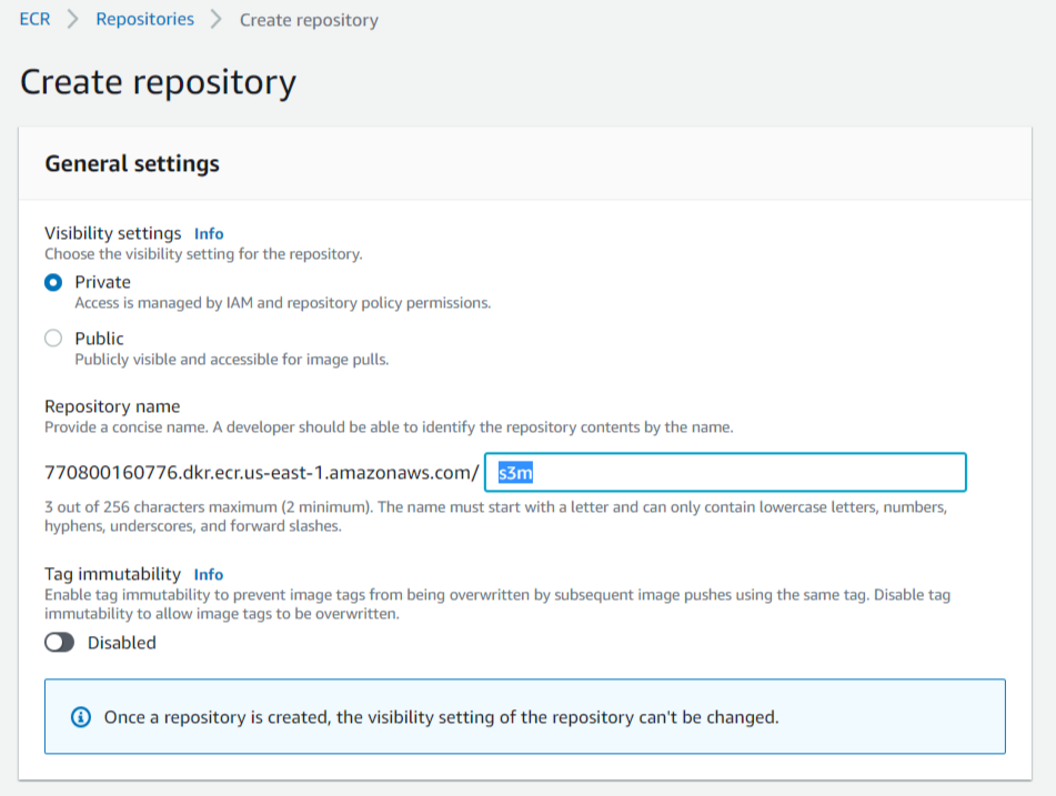 Create a Repository into Elastic Container Registry for docker images