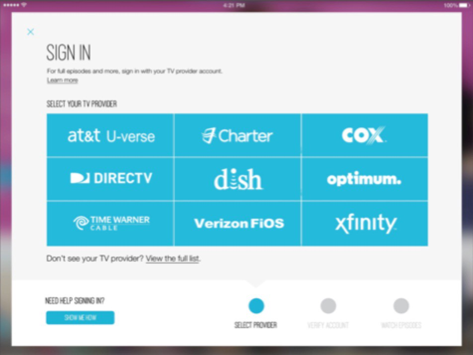 Signin Cable Provider