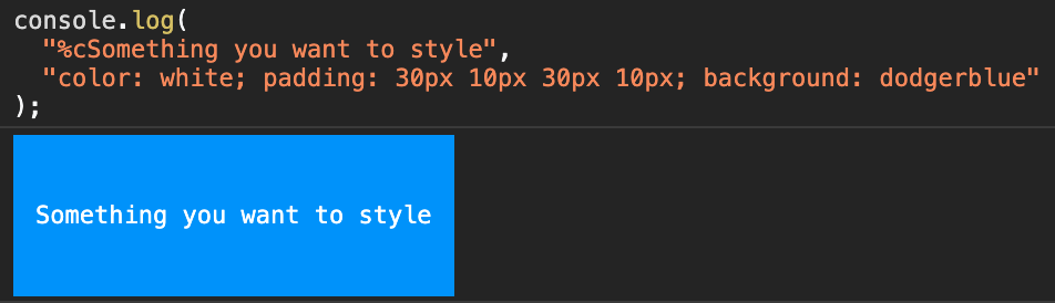 Code showing custom styles