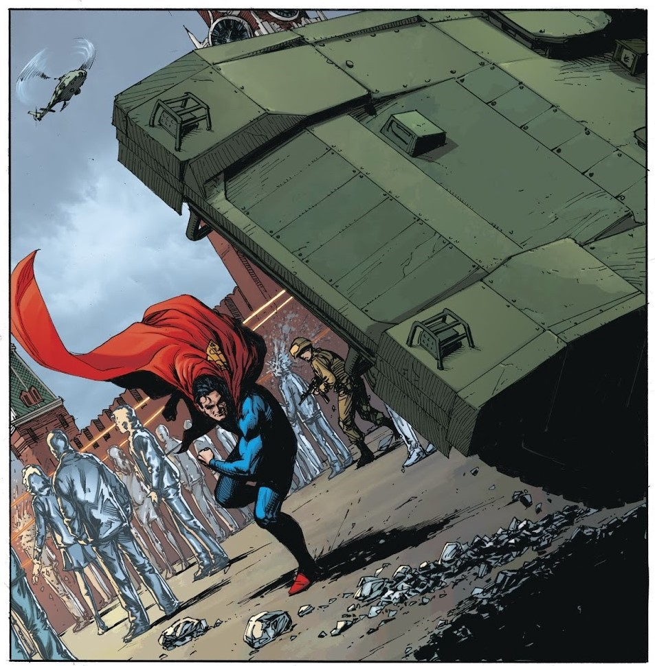 Superman throws a Russian tank that was firing into a crowd. Now he's hated! Yay?