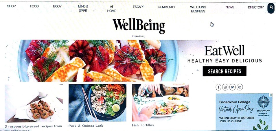 screenshot of WellBeing home page