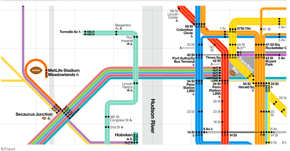 2014 Vignelli Regional Diagram depicting the NY and NJ transit lines in one place.