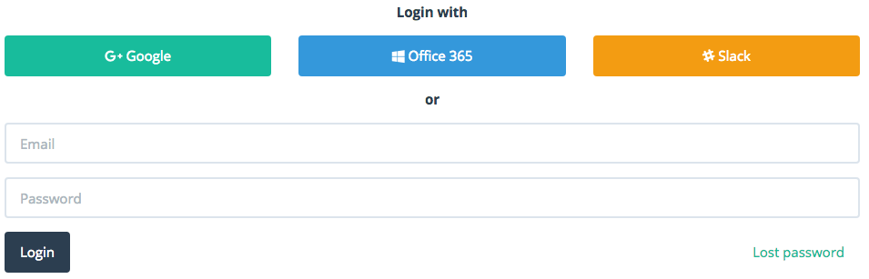 You can login with Slack, Google and Outlook on LeaveBoard