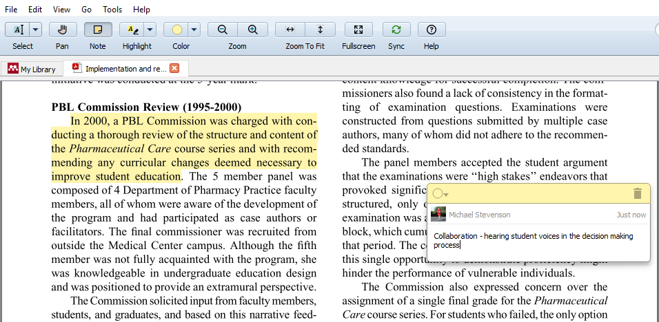 An in-text annotation added to a paper in Mendeley's PDF reader.