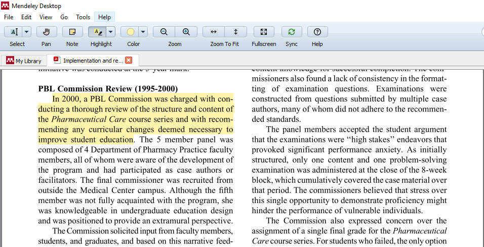 Highlighted text in Mendeley's PDF reader.