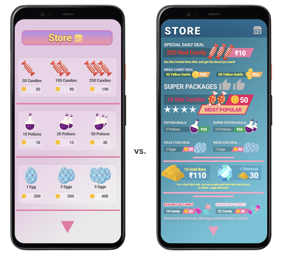 Two phone screens of in-app stores