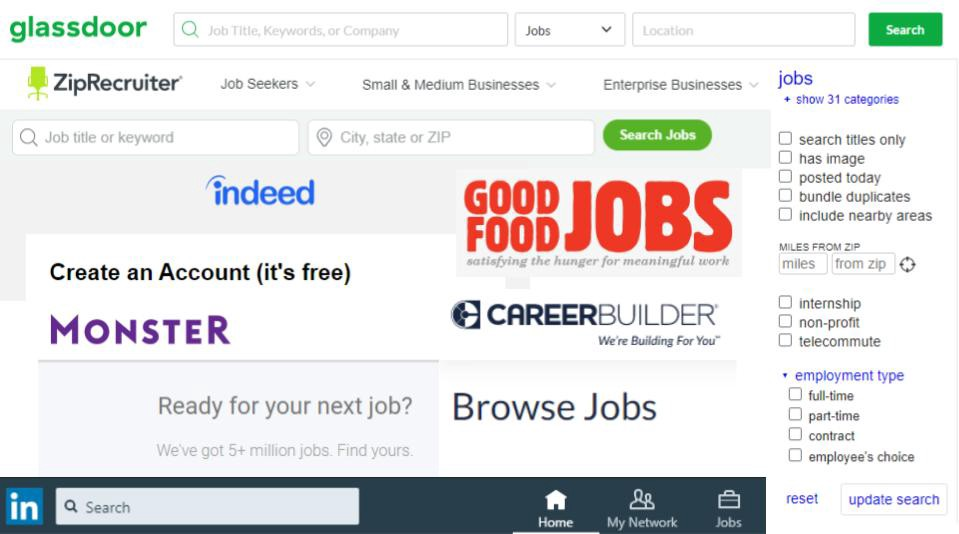 A collage of many job-hunting website logos, including Monster, Glassdoor, and LinkedIn.