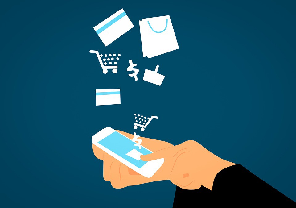 A drawing of someone buying items with a smartphone
