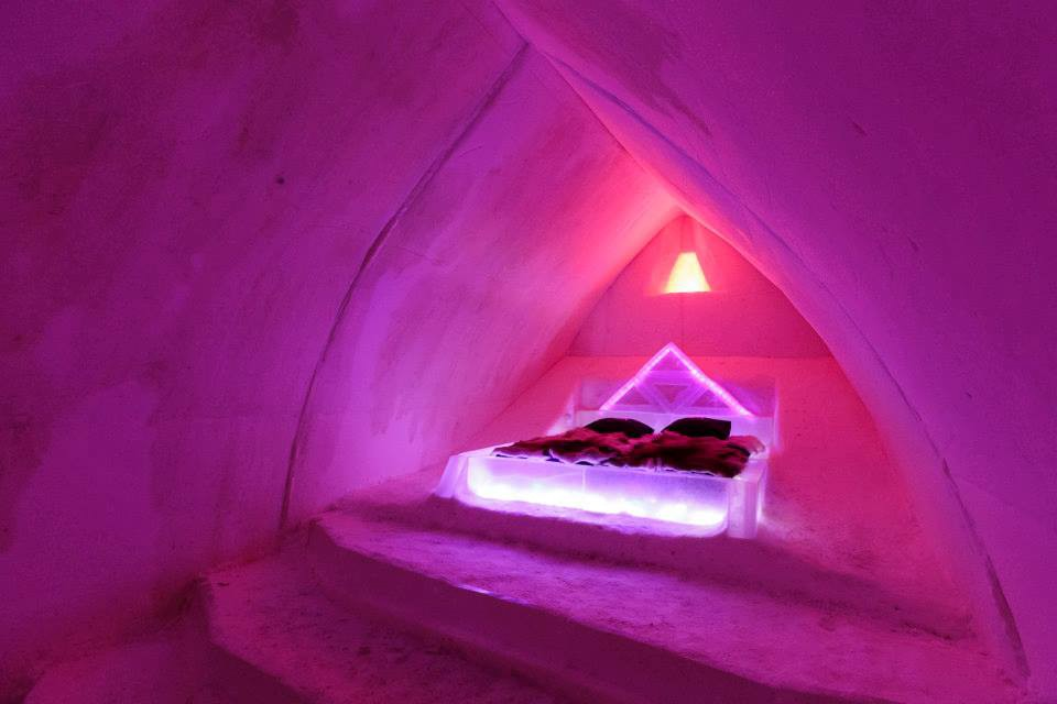 Bed in the Arctic Snow Hotel, Finland